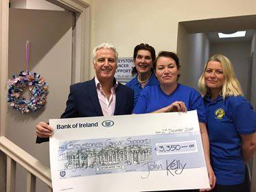 Greystones man John Kelly has presented Greystones Cancer Support with €3,250, having run the Dublin Marathon in memory of his friend, the late Gerry Collins.